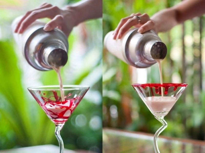 Martini Gläser mit Kunstblut dekorieren