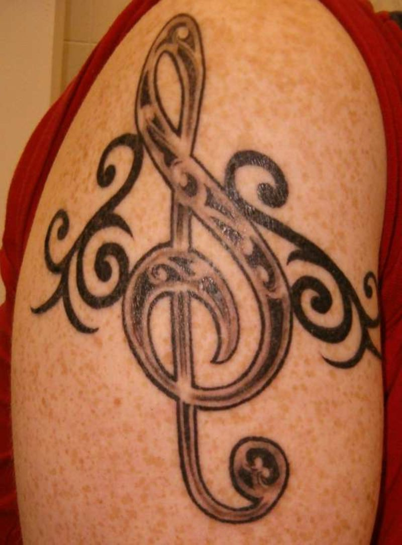notenschlussel tattoo celtic tribal