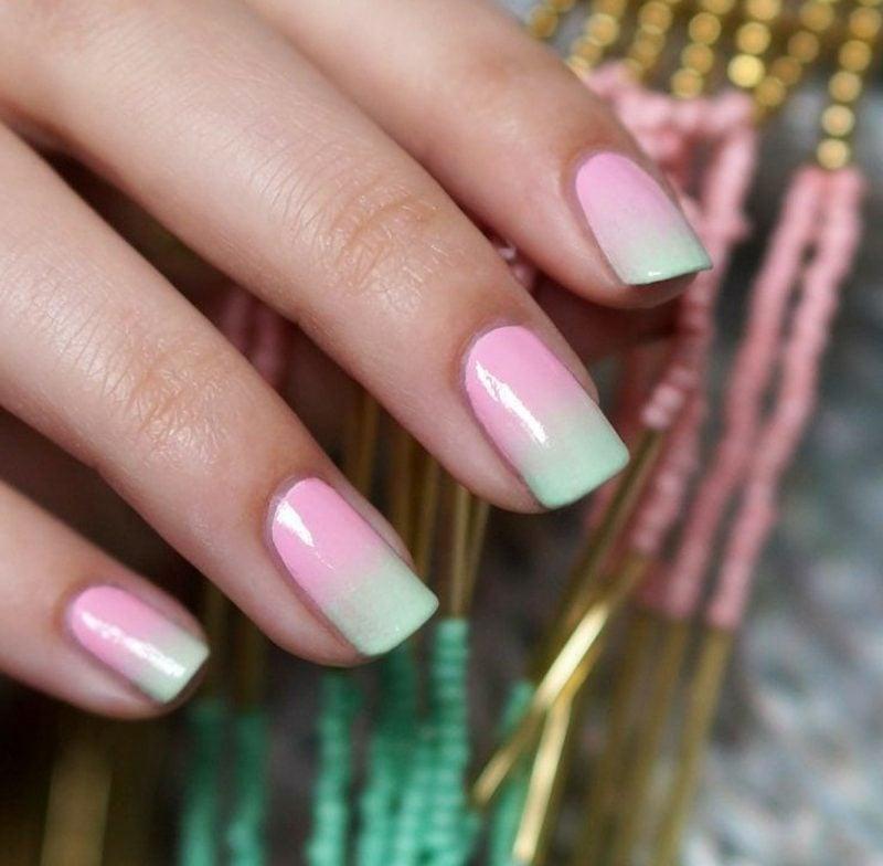 Fingernägel mit Ombre Effekt Pastellfarben