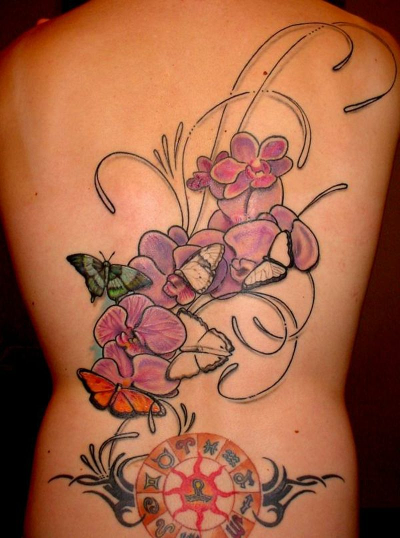 orchideen tattoo zodiac circle on back