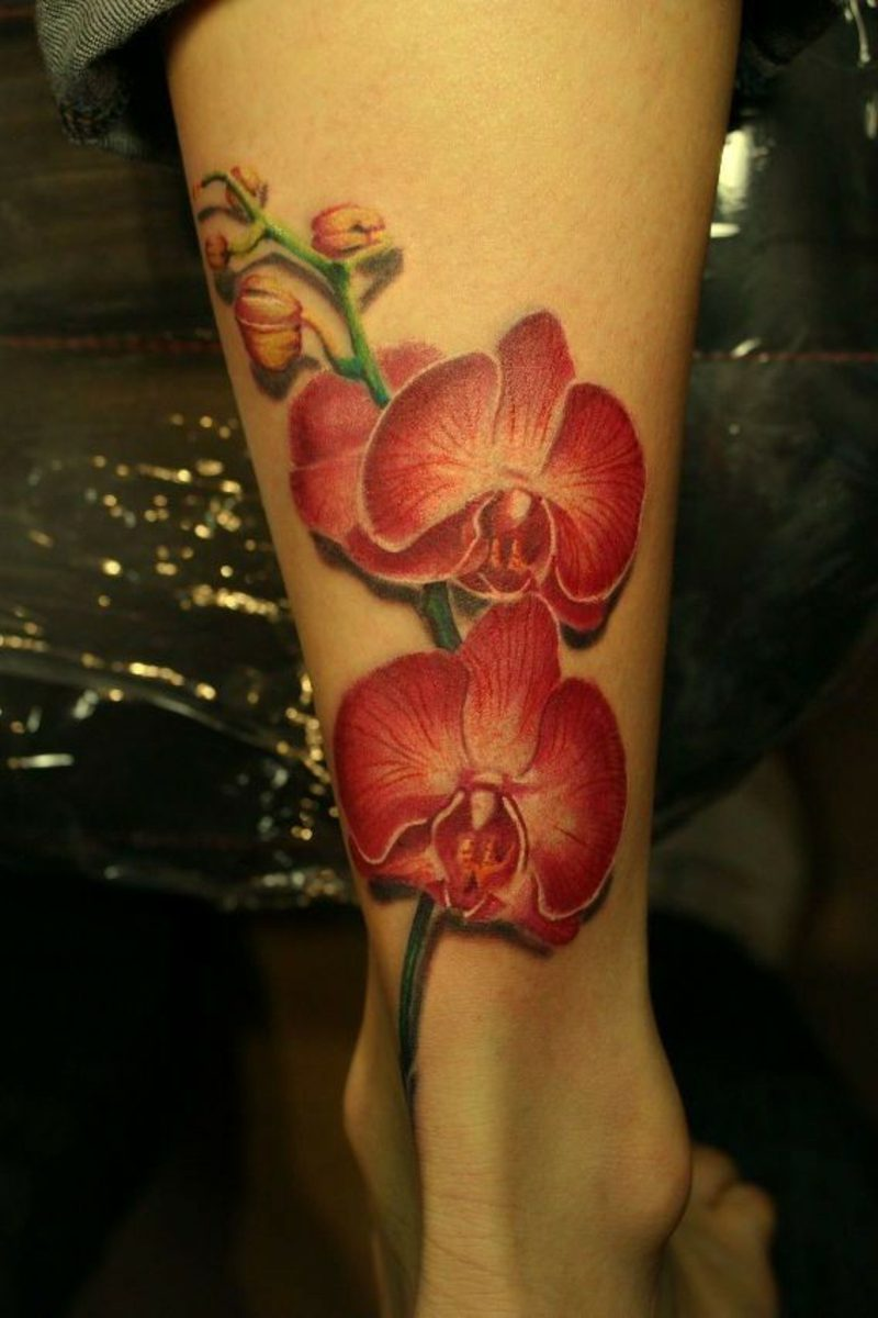 orchideen tattoo on leg