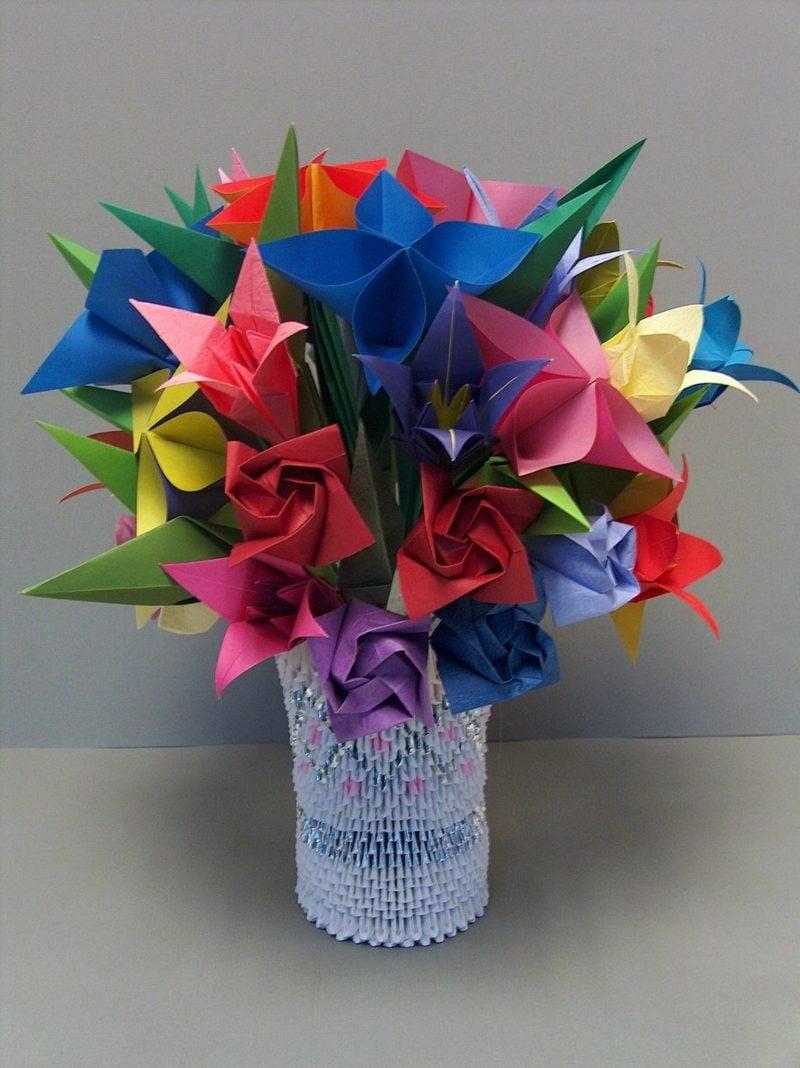 origami rose anleitung 3d origami flowers in vase