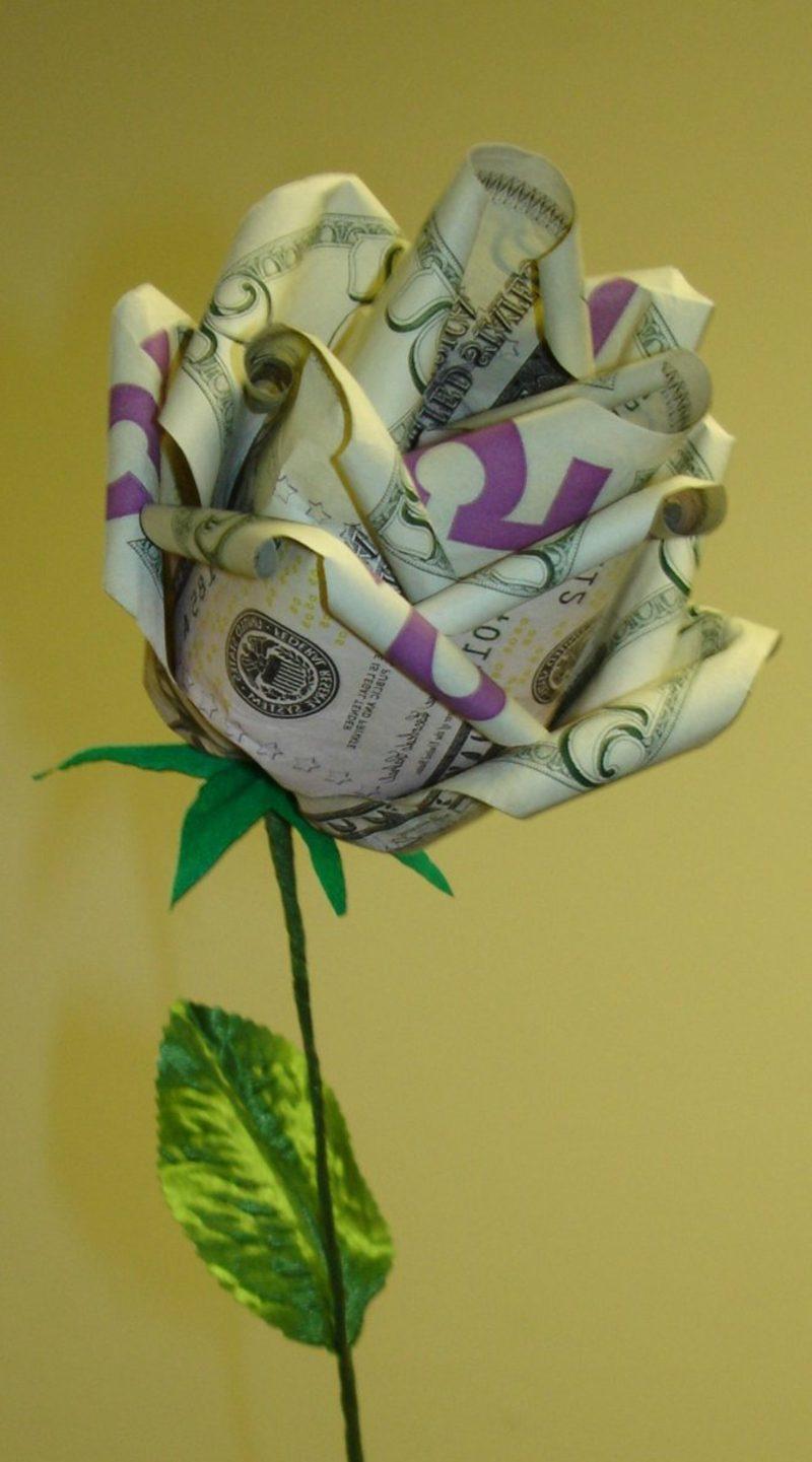 origami rose anleitung money