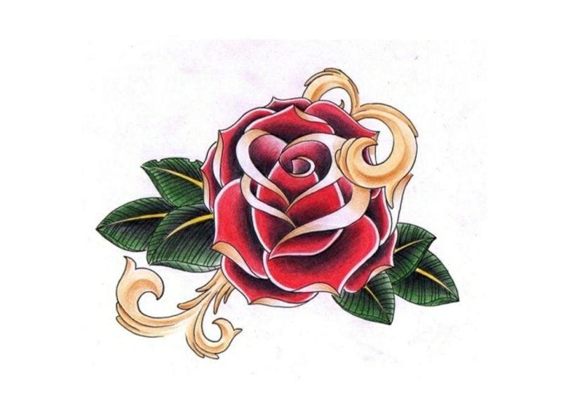 Tattoovorlagen für Unterarm Rose farbig
