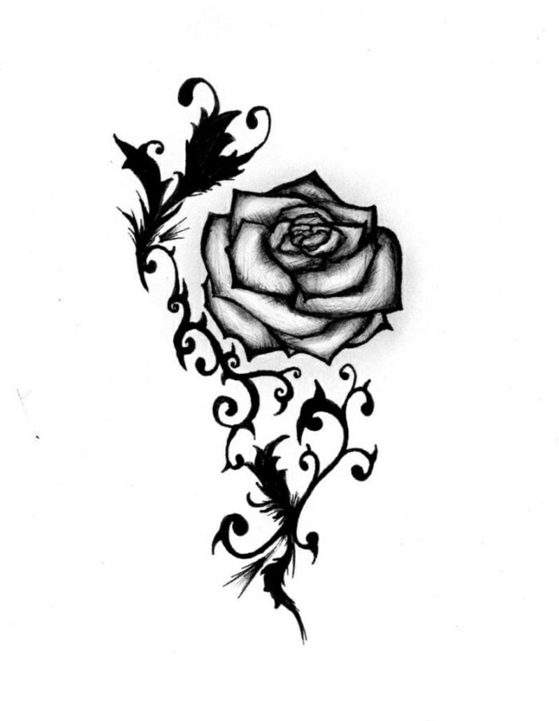 Tattoovorlagen für Unterarm stilisierte Rose