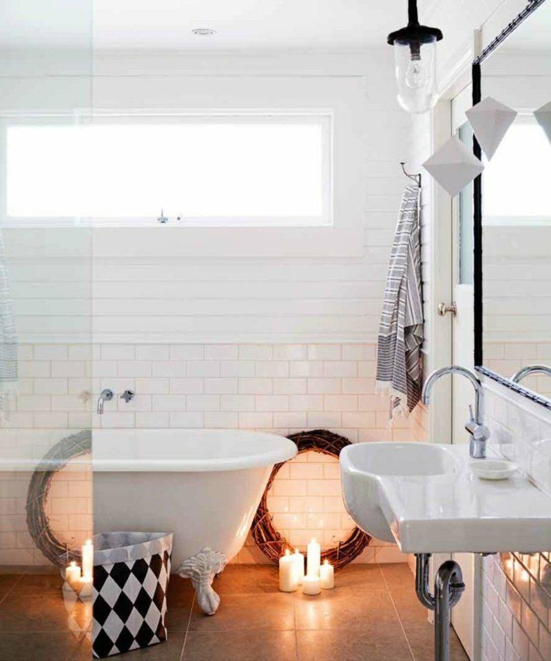 skandinavisch wohnen fliesen braun badewanne retro