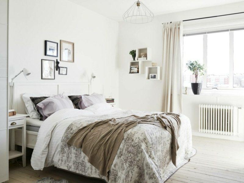 skandinavisch wohnen schlafzimmer grau tagesdecke