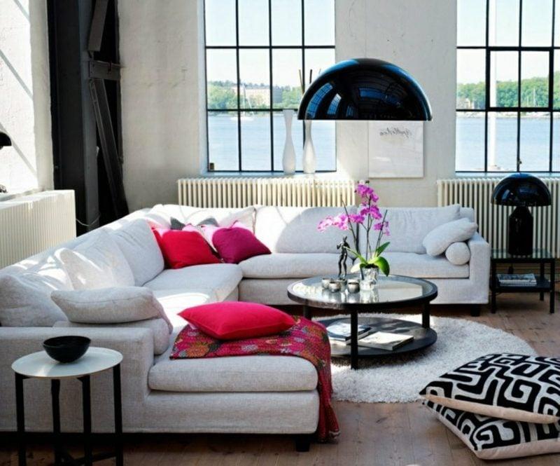 skandinavisch wohnen skandinavisch wohnzimmer idee schwarz weiss farbe