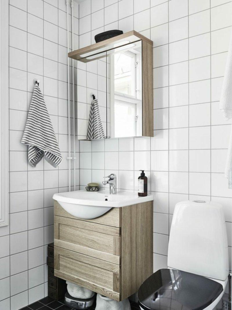 skandinavisch wohnen badkonsole spiegel toilette deckek schwarz