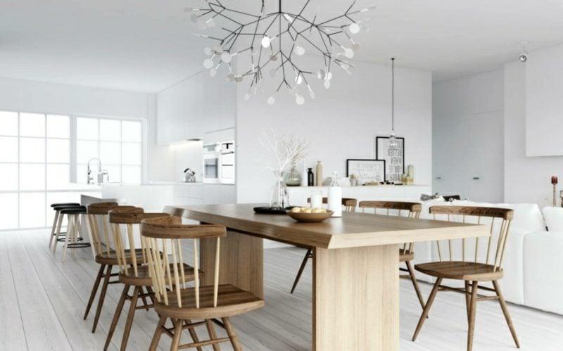 skandinavisch wohnen esstisch holz lampe baum imitation
