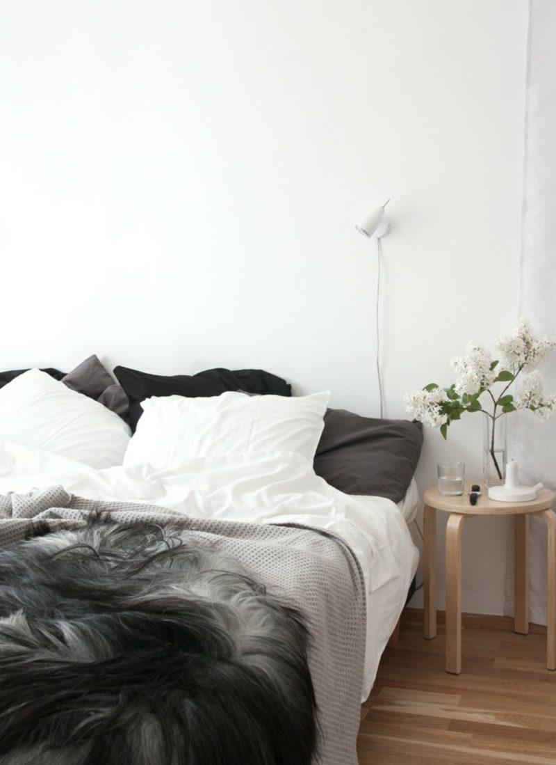 skandinavisch wohnen grau schlafzimmer