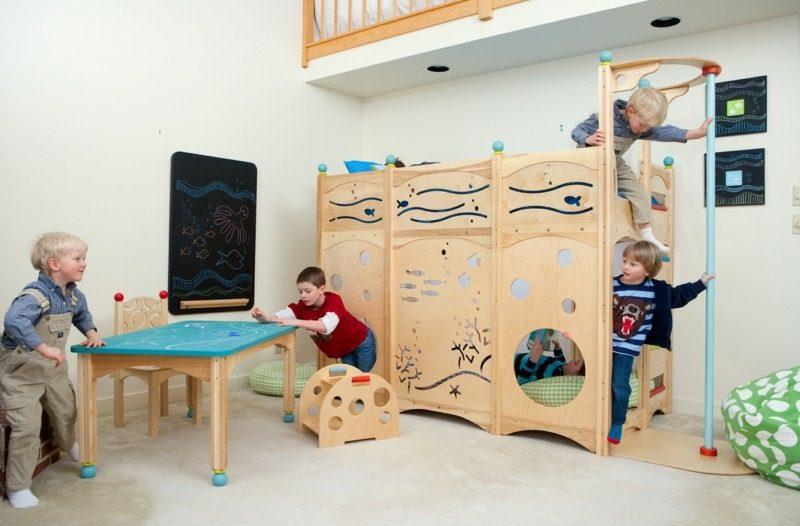 mitwachsendes Kinderbett Kletterwand Holz