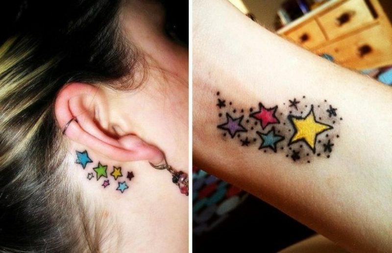 farbiges Tattoo Sternchen