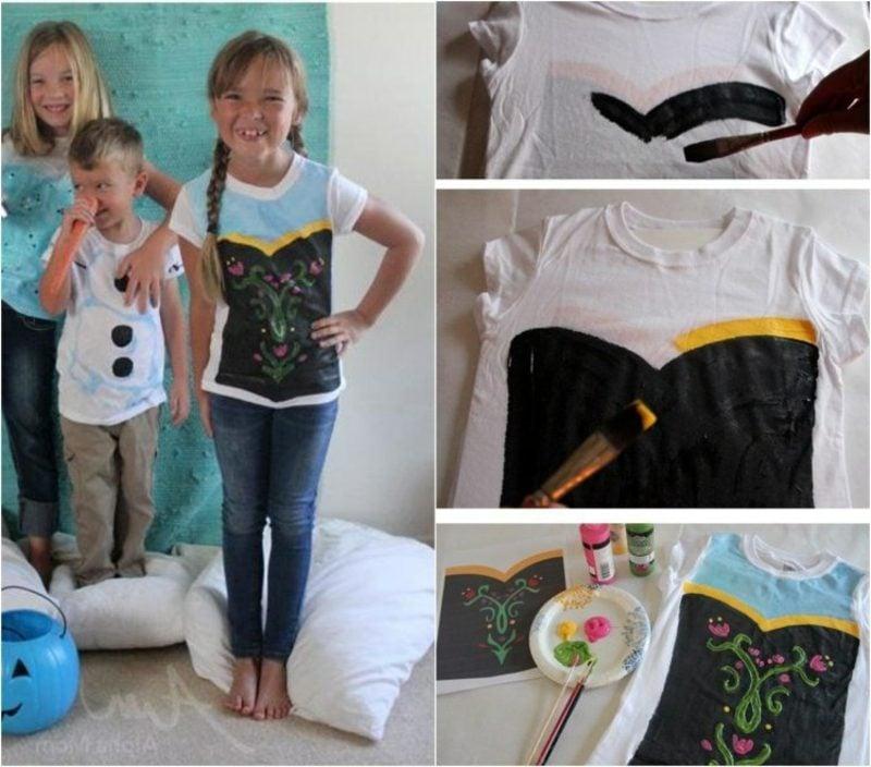 T-Shirts selbst bedrucken Kinder kreative Ideen