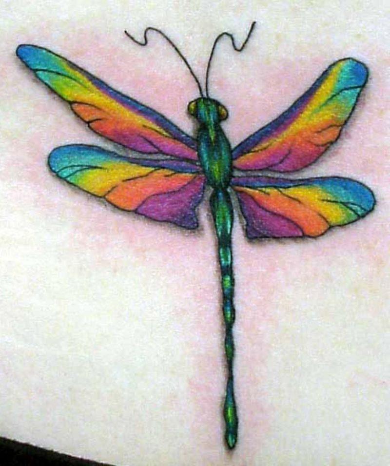 Libelle farbiger Tattoo