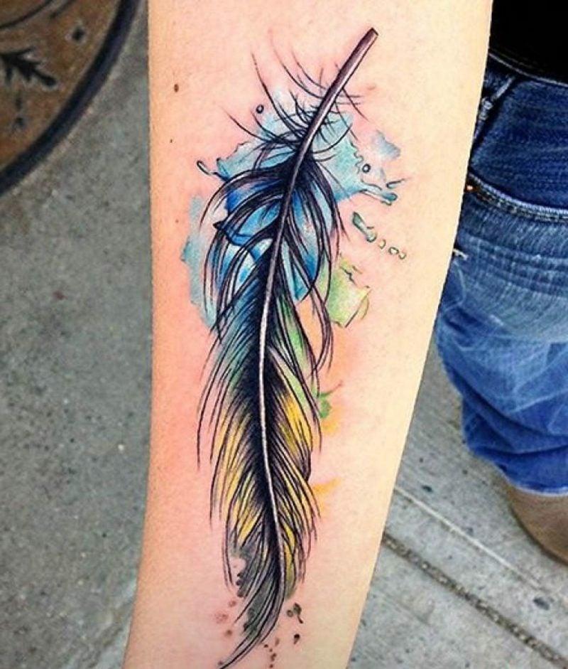 Feder Tattoo in Wassserfarben