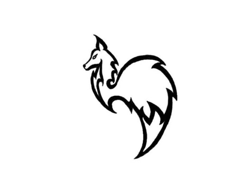Fuchs stilisiert Tattoovorlagen für Unterarm