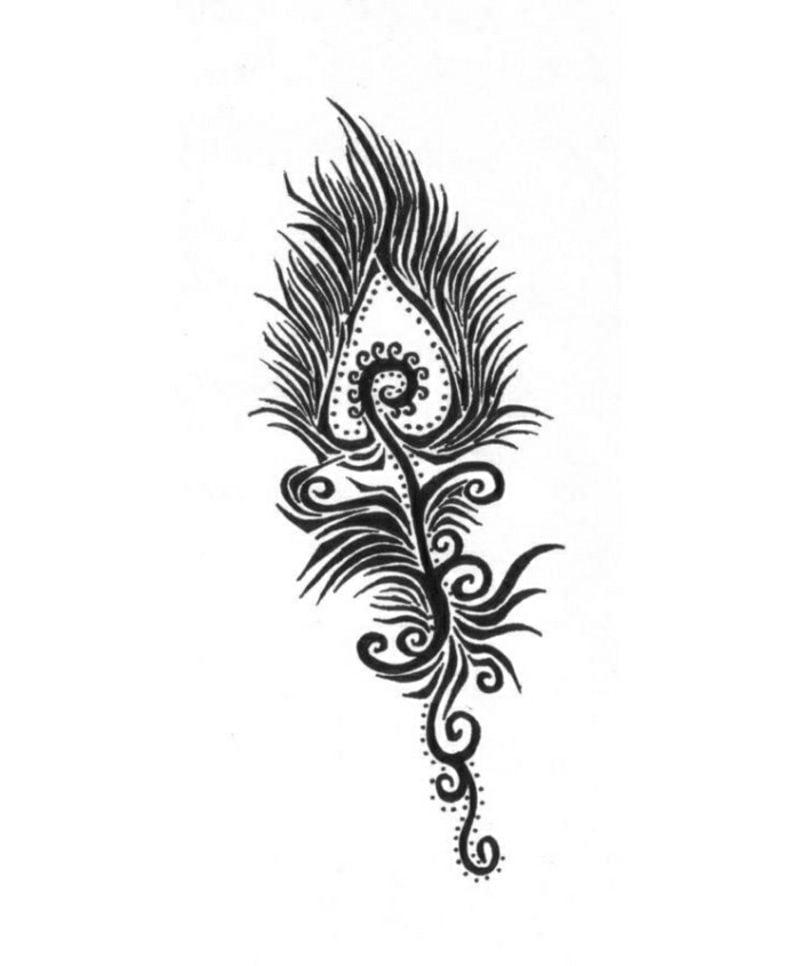 Pfau Feder Tattoovorlagen für Unterarm