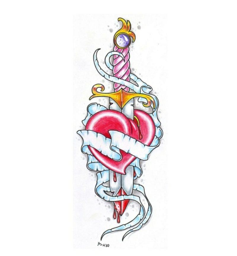 Schwert und Herz farbig Tattoovorlagen für Unterarm