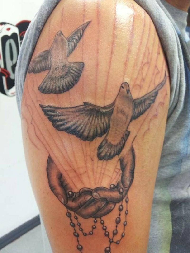 tauben tattoo black and white