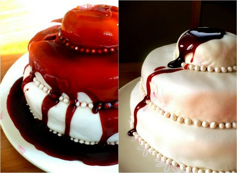 Halloween Dekoideen Torte dekoriert mit Kunstblut