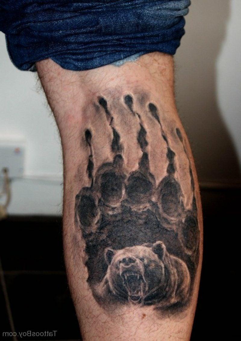 waden-tattoo bear in paw leg tattoo