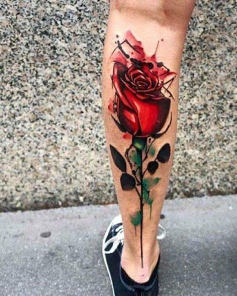 waden tattoo rose