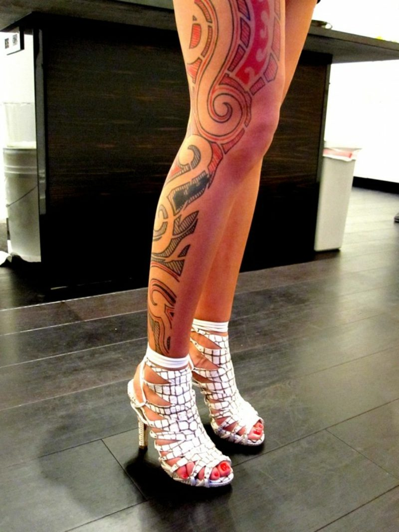 waden tattoo colored tribal leg tattoo for girls