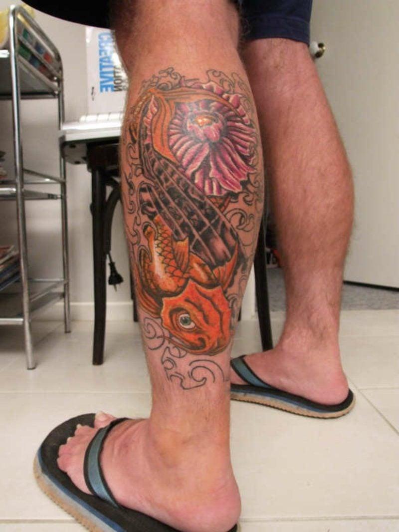waden tattoo flower and koi fish