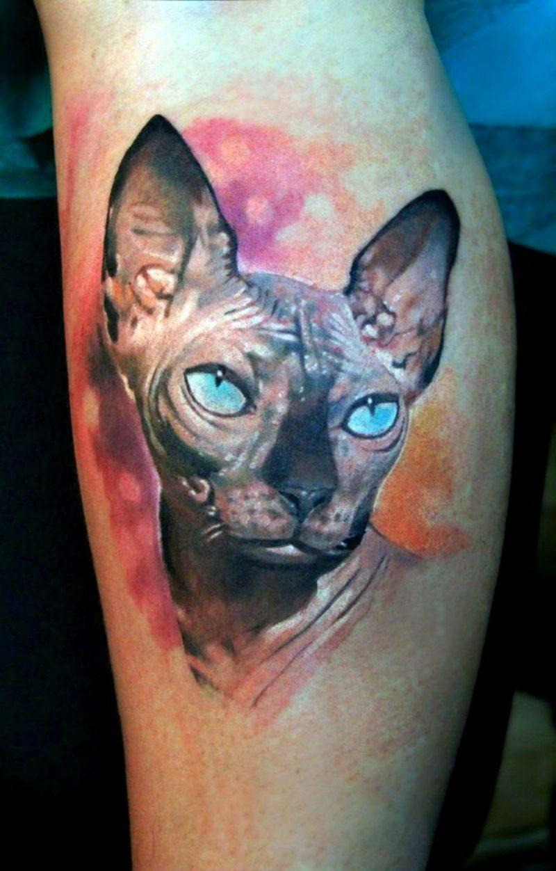 waden tattoo realism leg sphinx