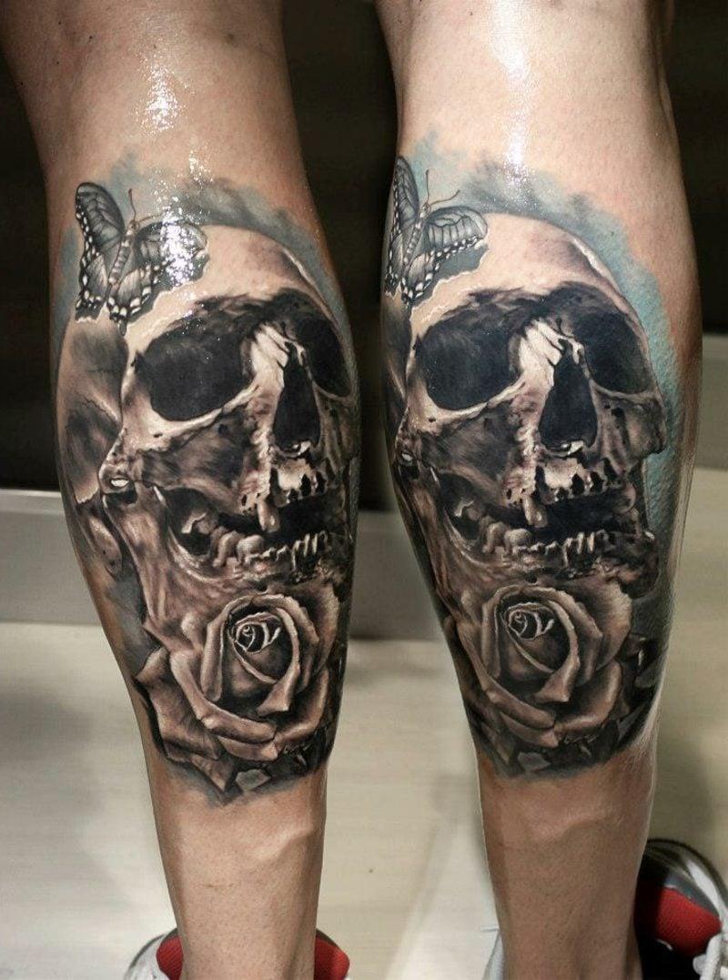 waden tattoo skull and rose