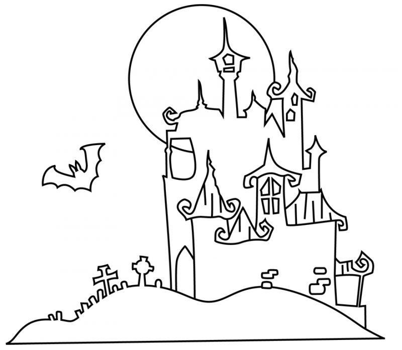 Ausmalbilder für Halloween mit dem Dracula Schloss