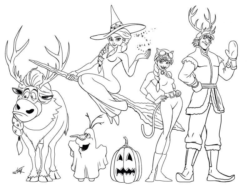 Ausmalbilder für Halloween Frozen
