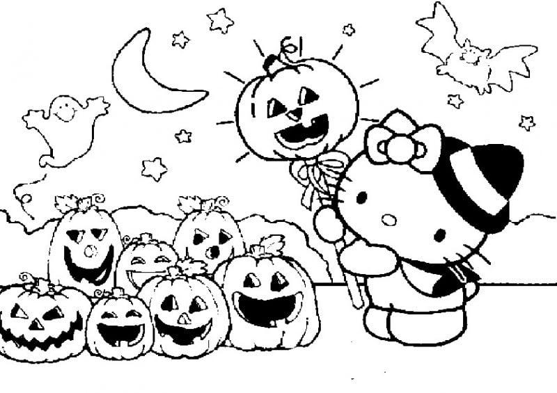 Ausmalbilder für Halloween mit Hallo Kitty sind am meisten von Mädchen bevorzugt