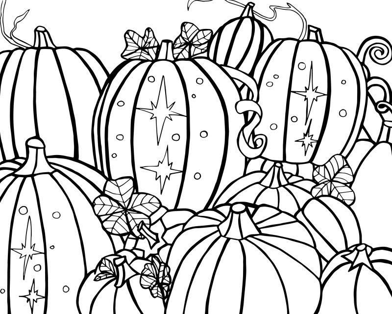 Ausmalbilder für Halloween mit traditionellen Kürbisse