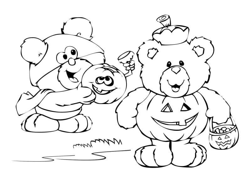 Die Bären sind auch ein wichtiges Teil von Ausmalbilder für Halloween
