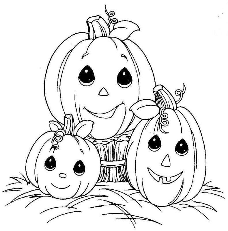 Ausmalbilder für Halloween: Die Kürbisse können auch lustig sein