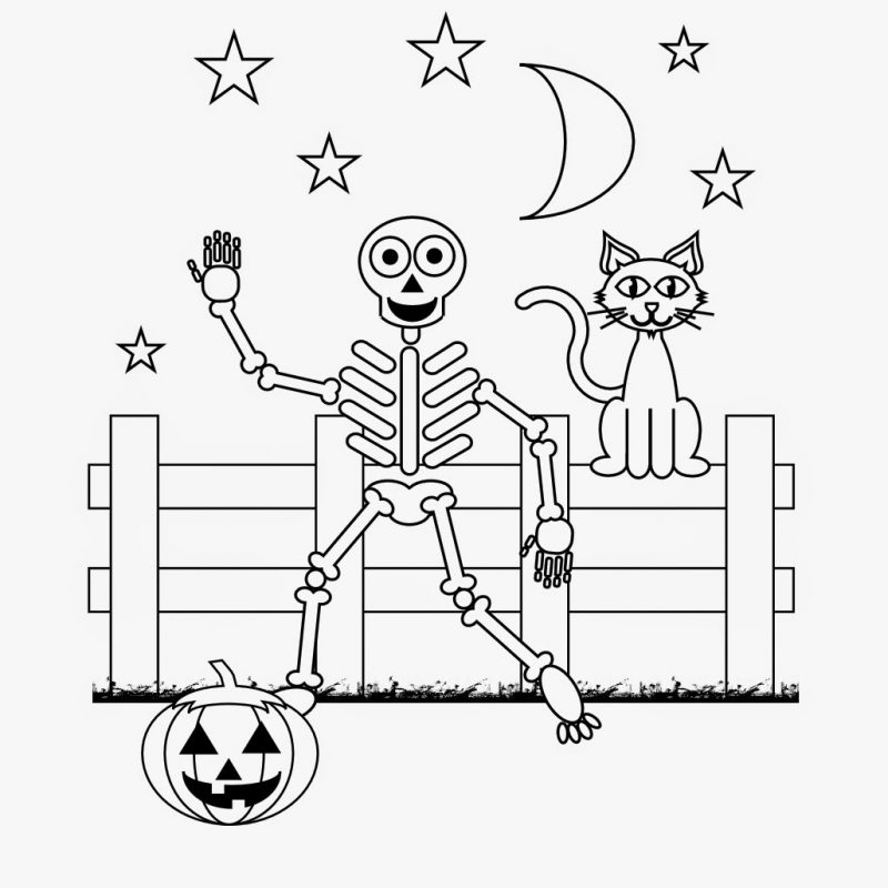 Ausmalbilder für Halloween: Skelett kann auch freundlich sein