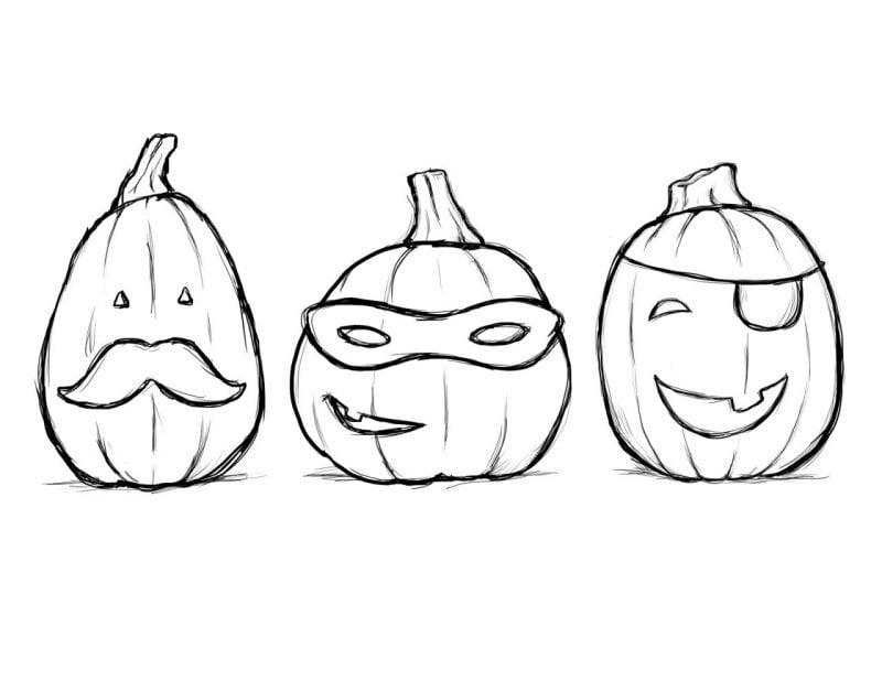 Ausmalbilder für Halloween mit witzigen Kürbissen