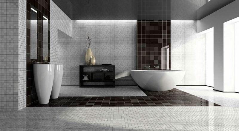 badgetsaltung ideen glasmosaik auf den wänden schlichtes design in schwarz und weiß