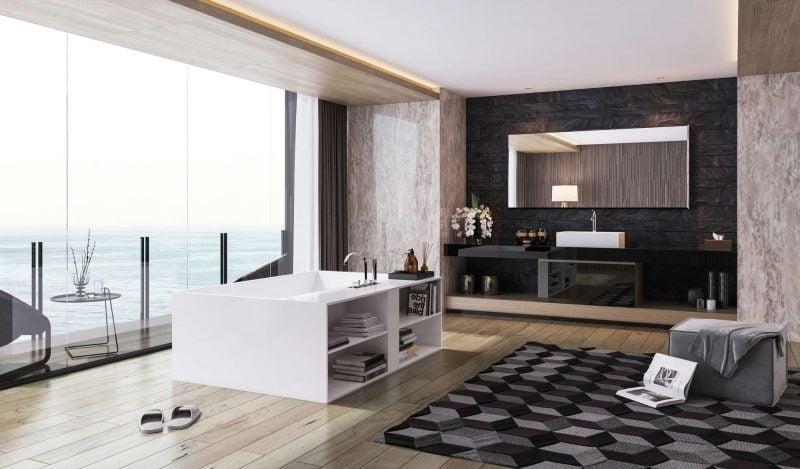 badgetsaltung ideen für großes luxusbad mit wunderschöner aussicht und viel platz für extra möbel