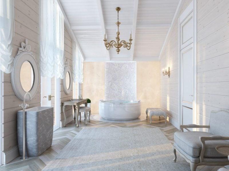 badgetsaltung ideen für elegantes luxusbad in weißen nuancen mit wunderschönen ornamenten