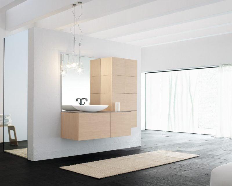 badgetsaltung ideen für italienisches badezimmer mit holzoptik und schlictem teppich
