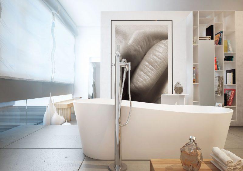 badgetsaltung ideen mit keramik badewanne und moderne malerei an der wand