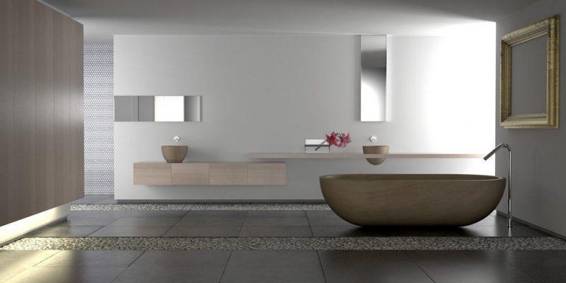 badgetsaltung ideen mit kiesboden und holz badewanne