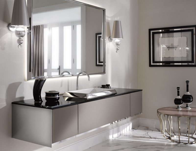 badgetsaltung ideen mit domernem italienischen spiegel in klarer grauen farbe