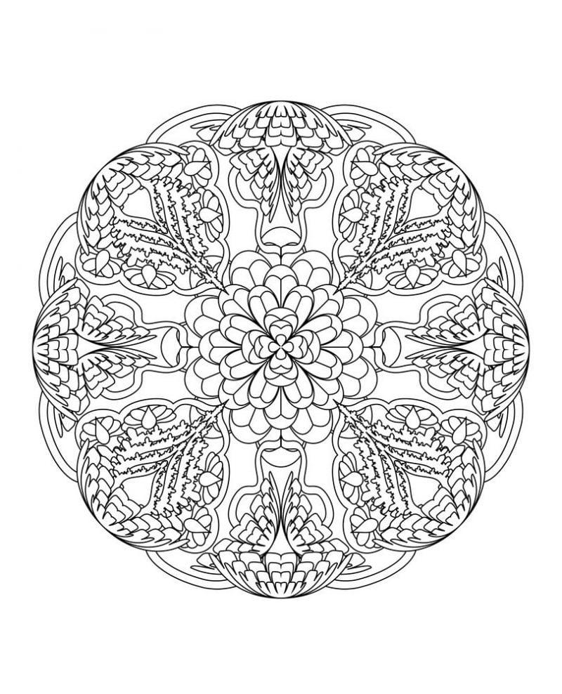 Mandala Bilder zum Ausmalen kostenlos - niedrige Schwierigkeit