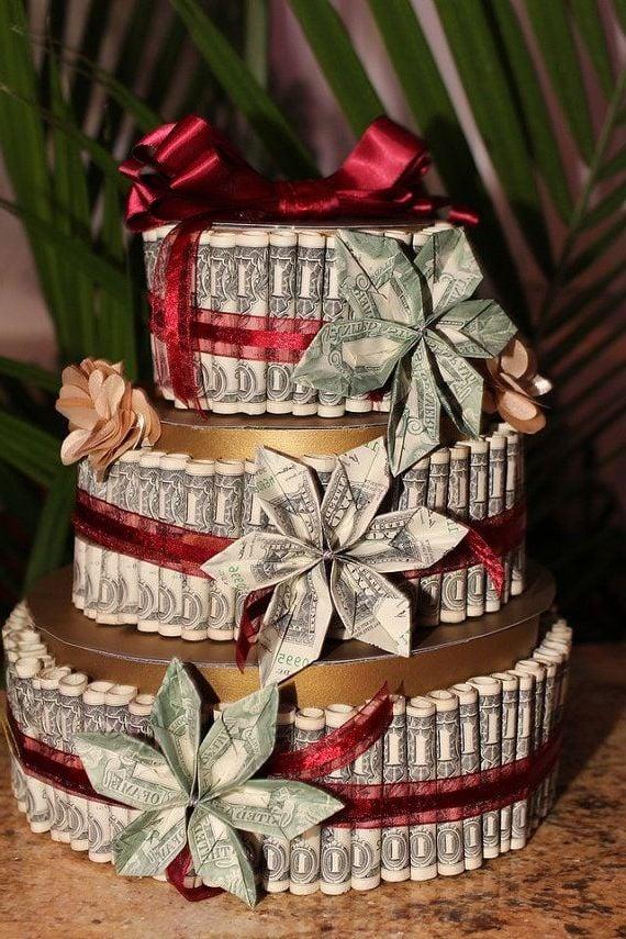 blume geldscheine falten torte