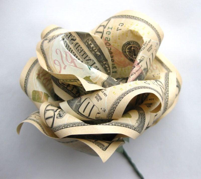 blume geldscheine falten rose