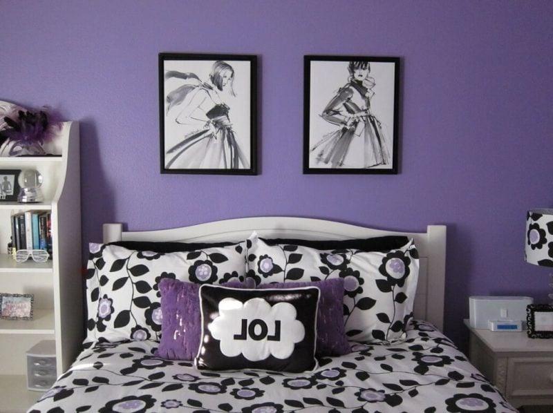 Coole Bettwäsche mit Blumen für ein lila Zimmer